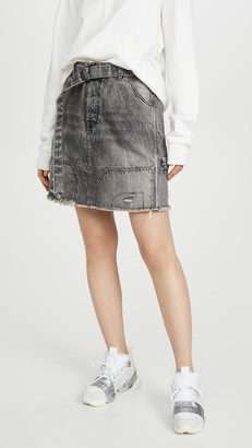 Unravel Project Moonwash Repaired Denim Skirt