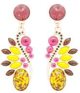 Moutton Collet Bohemian Crystal Round Stone, Gold Pink Metal Plated Earrings