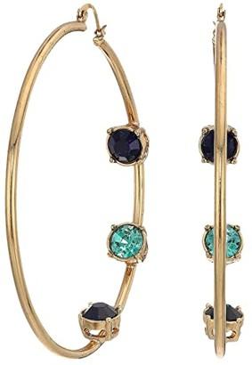 Steve Madden Rhinestone Inside Stud Design Hoop Earrings (Multicolor/Yellow Gold-Tone/Blue) Earring