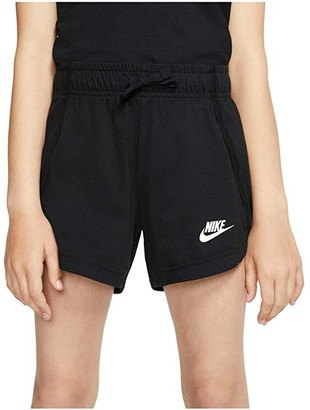 Nike Kids NSW Jersey Shorts (Little Kids/Big Kids) (Black/White) Girl's Shorts