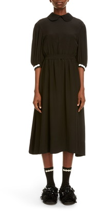 Simone Rocha Beaded Cuff Puff Sleeve Silk Midi Dress