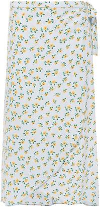 By Ti Mo Asymmetric Floral-print Crepe Midi Wrap Skirt