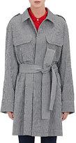 Gauchere Women's Gingham Seersucker Trench Coat-BLACK, WHITE