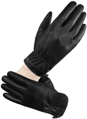 """LETHMIK Womens Touchscreen Texting Winter PU Faux Leather Gloves Driving Long Fleece Lined - Black - Medium 7 (7"""" / 7 1/2"""")"""