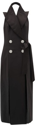 ATTICO Crystal-button Cotton-blend Tuxedo Dress - Black