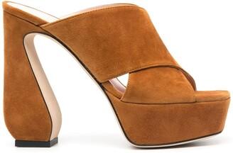 Sergio Rossi Criss-Cross Platform Suede Sandals