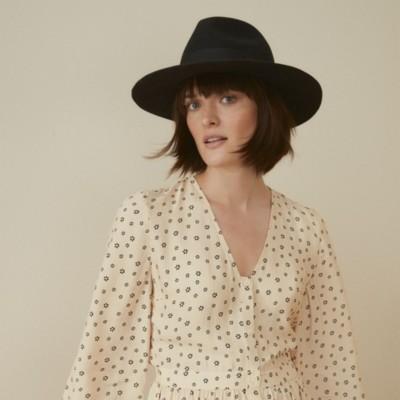 The White Company Christys Wool Felt Fedora Hat, Black, One Size