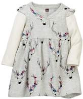 Tea Collection Oh Deer Button Neck Dress (Baby Girls)