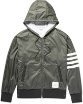 Thom Browne - Cotton-trimmed Striped Ripstop Hooded Bomber Jacket