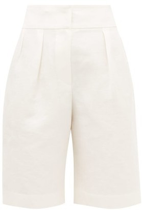 Brunello Cucinelli Pleated Linen-blend Wide-leg Shorts - Ivory