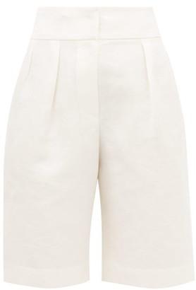 Brunello Cucinelli Pleated Linen-blend Wide-leg Shorts - Womens - Ivory