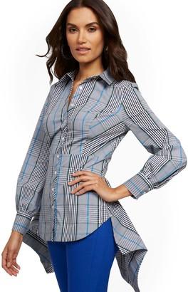 New York & Co. Petite Plaid High-Low Shirt - 7th Avenue