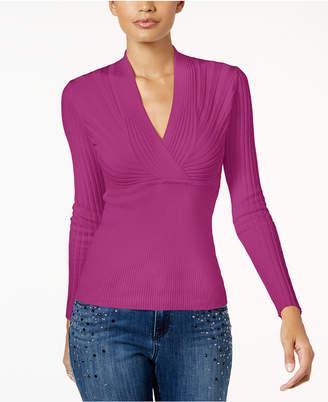 INC International Concepts Inc Ribbed Surplice Sweater