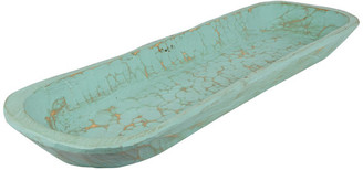 My Amigos Imports Painted Extra Long Rustic Wooden Dough Bowl, Mint, Long