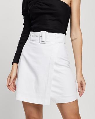 Atmos & Here Atmos&Here - Women's White Mini skirts - Scarlett Linen Blend Mini Skirt - Size 6 at The Iconic