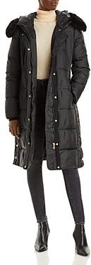 Via Spiga Faux Fur Trim Hooded Puffer Coat