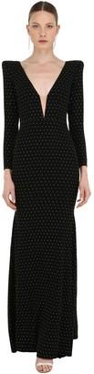 Alex Perry Crystal Embellished Long Crepe Dress