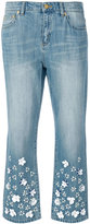 Michael Kors flower embellished cropped jeans - women - Cotton/Aluminium/plastic/glass - 2