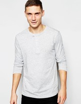 G Star G-Star Long Sleeve Top Riban Grandad Fabric Placket In Grey Heather