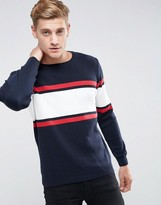 Pull&Bear Sweater With Color Block Stripe In Navy