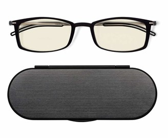ThinOptics Milano Aluminum Case + Frontpage Brooklyn Rectangular Reading Glasses Black Frames/Silver Case 1.50