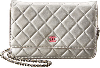 Chanel Silver Quilted Caviar Leather Wallet On Chain