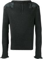 Maison Margiela leather patch ribbed sweatshirt - men - Cotton/Wool - L