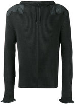 Maison Margiela leather patch ribbed sweatshirt - men - Cotton/Wool - XL
