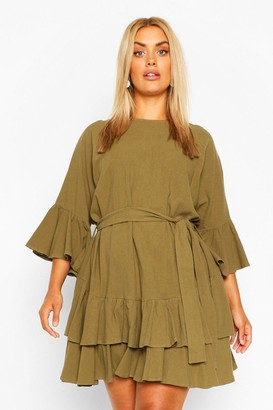 boohoo Plus Cotton Ruffle Tie Waist Smock Dress