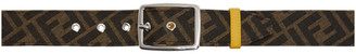 Fendi Reversible Brown and Yellow Forever Graphic Belt