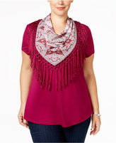 Style&Co. Style & Co. Plus Size T-Shirt with Printed Scarf, Only at Macy's