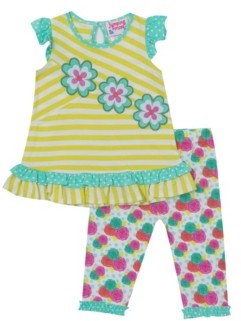 Rare Editions Little Girls Flower Applique Top and Legging Set