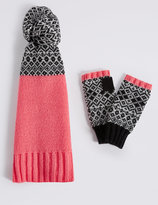 M&S Collection Fairisle Scarf & Gloves Set