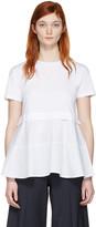 Jil Sander Navy White Peplum T-shirt