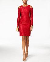 Alex Evenings Glitter Lace Cold-Shoulder Dress