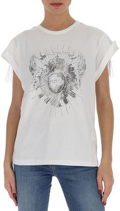Pinko Printed Fringed T-Shirt