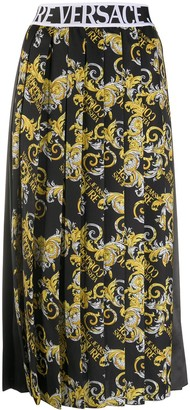 Versace Jeans Couture Logo Baroque-print pleated skirt