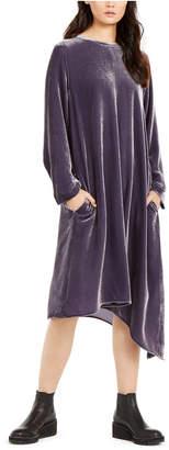 Eileen Fisher Asymmetric-Hem Velvet Dress