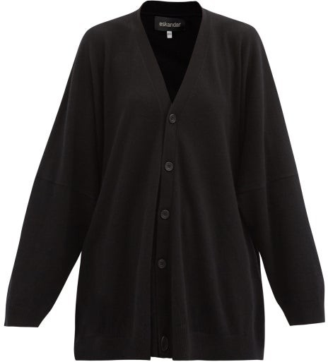 eskandar Oversized Cashmere Cardigan - Black