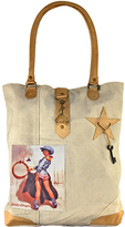 Vintage Addiction Tan Pin Up Cowgirl Canvas Tote
