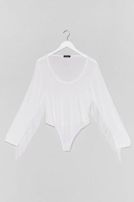 Nasty Gal Womens Living On the Edge Plus Fringe Bodysuit - White