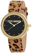 Steve Madden Women&s Cheetah Print Genuine Leather Strap Watch