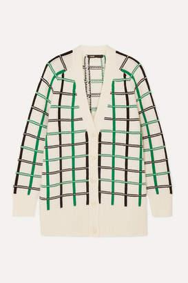 Maje Maya Checked Knitted Cardigan - Ecru