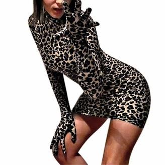 DEELIN Dress Womens Fashion Sexy Turtleneck Long Sleeve Print Leopard Gloves Sheath Mini Club Pencil Hip Skirt Evening Party Ladies Cocktail Dress(Brown S)