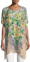 Johnny Was Kiltic Floral-Print Tunic, Yellow Pattern