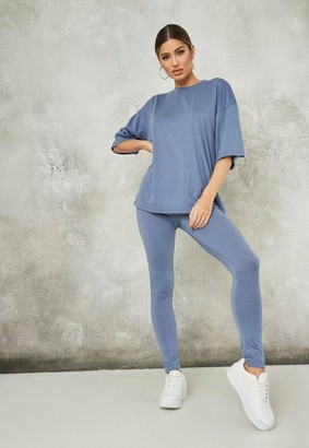 Missguided Blue Oversized Legging And T Shirt Co Ord Set