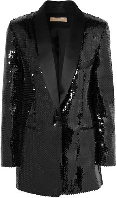 Michael Kors Collection Satin-trimmed Sequined Crepe Tuxedo Jacket