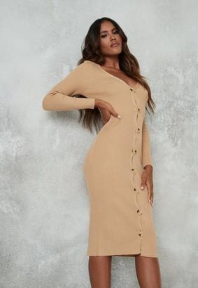 Missguided Camel Rib Knit Long Sleeve Midi Dress