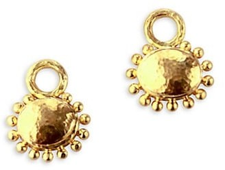 Elizabeth Locke Hammered 19K Yellow Gold Granulated Oval Earring Charms