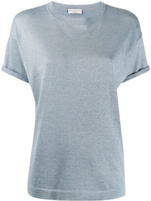 Brunello Cucinelli metallized knitted T-shirt